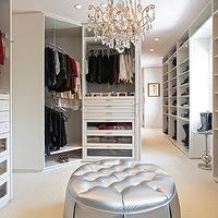 LA Closet Design - closets - closet system, closet design, stunning closet design, walk-in closet design, closet ottoman, closet tufted ottoman, closet crystal chandeliers, closet chandeliers, shoe shelves, built-in shoe shelves, closet shoe shelves, built-in closet shoe shelves, white shoe shelves, white closet shoe shelves, built-in belt rack, closet belt rack, built-in closet belt rack, winding clothes rack, built-in winding clothes rack, glass-front closet drawers, white closet cabinets, boot racks, closet boot racks,