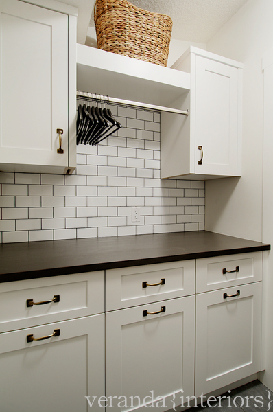 Subway Tile with Dark Grout - Contemporary - laundry room