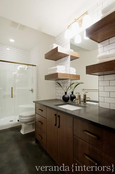 Chocolate Brown Cabinets Contemporary Bathroom