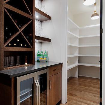 Glass Front Mini Fridge, Contemporary, kitchen, Veranda Interiors