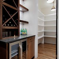Veranda Interiors - kitchens - pantry, walk-in pantry, butlers pantry, brown butler pantry cabinets, brown pantry cabinets, brown butlers pantry cabinets, chocolate pantry cabinets, chocolate butler pantry cabinets, coffee pantry cabinets, coffee  butlers pantry cabinets, mini-fridge, glass-front mini-fridge, butlers pantry mini-fridge, glass-front butlers pantry mini-fridge, wine rack, built-in wine rack, butlers pantry wine rack, butlers pantry built-in wine rack, brown built-in wine rack, butlers pantry floating shelves,
