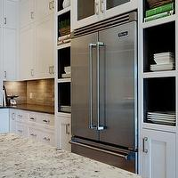Veranda Interiors - kitchens - alaska white, alaska white granite, alaska white granite countertop, granite countertops, kitchen countertops, white granite countertops, granite kitchen countertops, alaska white granite island countertop, alaska white granite kitchen island, granite island countertops, white granite island countertops, white granite kitchen island countertop, white kitchen cabinets, shaker cabinets, white shaker cabinets, french door refrigerator, kitchen nooks, built-in kitchen nooks, white granite countertops, white granite,