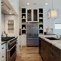 Veranda Interiors - kitchens - two-tone cabinets, two-tone kitchen, two-tone kitchen cabinets, brown kitchen island, modern kitchen island, coffee kitchen island, cooktop alcove, kitchen cooktop alcove, kitchen alcove, wood kitchen hood, modern lanterns, modern kitchen lanterns, alaska white granite, alaska white granite countertop, granite countertops, white granite kitchen island countertop, white kitchen cabinets, shaker cabinets, white shaker cabinets, french door refrigerator, kitchen nooks, built-in kitchen nooks, white granite countertops, white granite, alaska white granite countertops, alaska white granite,