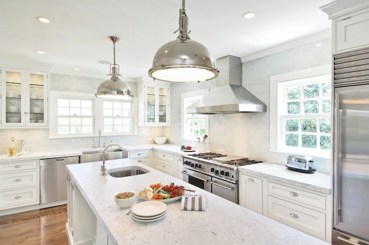 White KItchen Cabinets With Stainless Steel Appliances Transitional Kitch
