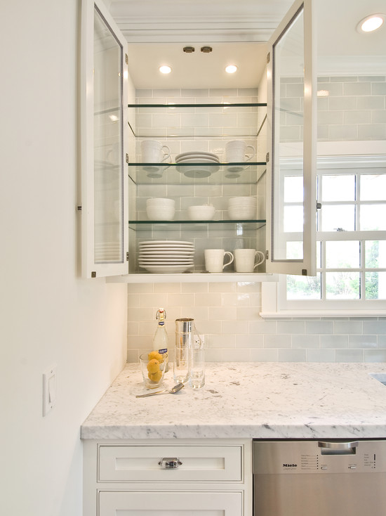 Glass Front Cabinets Transitional kitchen Hampton Design