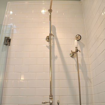 Brooklyn Limestone - bathrooms - sage green bathroom, sage green walls, sage green paint, sage green bathroom color, subway tiles, subway tile backsplash, subway tile shower, subway shower tiles, white subway shower tiles, subway shower surround, subway tile shower surround, subway shower surround, white subway shower surround, shower kit, polished nickel shower kit, vintage shower kit, vintage nickel shower kit, vintage polished nickel shower kit, white subway tile shower,