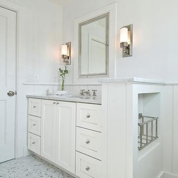 Hampton Design - bathrooms - chevron tiles, chevron tile floor, chevron bathroom tiles, chevron bathroom floor, chevron bathroom tiles, marble chevron tiles, marble chevron tile floor, marble chevron bathroom tiles, marble chevron bathroom floor, marble chevron bathroom tiles, single bathroom vanity, white bathroom cabinets, built-in bathroom cabinets, built-in bathroom vanity, carrara marble countertop, inset medicine cabinet, chrome medicine cabinet, chrome inset medicine cabinet, bathroom sconces, modern bathroom sconces, marble floors, marble tile floor, herringbone tiles, herringbone tile floor, herringbone marble tiles, herringbone marble floor, marble herringbone tiles, marble herringbone floor, marble herringbone tile floor, marble herringbone tile bathroom, Restoration Hardware Framed Lit Right-Opening Inset Medicine Cabinet,