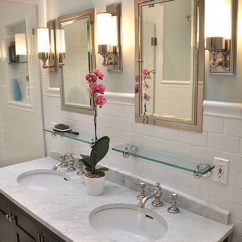 Double Sink Console, Traditional, bathroom, Benjamin Moore Quite Moments, Brooklyn Limestone