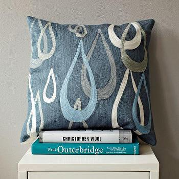 Pillows - Allegra Hicks Night Drops Crewel Pillow Cover | west elm - blue, gray, tear, drops, pillow, cover, crewel