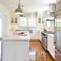 Hampton Design - kitchens - kitchen island, industrial island pendants, L shaped kitchen, blue glass tiles, blue glass backsplash, blue glass tile backsplash, blue glass kitchen tiles, blue glass kitchen backsplash tiles, blue subway tiles, blue subway backsplash, blue subway tile backsplash, blue subway kitchen tiles, blue subway kitchen backsplash tiles, blue backsplash tiles, blue kitchen backsplash tiles, stainless steel apron sink, prep sink, kitchen island prep sink, kitchen crown molding, white kitchen cabinets, stainless steel appliances, white kitchen cabinets with stainless steel appliances, Restoration Hardware Harmon Pendant,