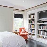 Sutro Architects - bedrooms - gray bedroom, gray guest bedroom, gray bedroom walls, gray bedroom paint, built-ins, built-in bookshelf, bookshelf, bedroom built-ins, bedroom bookshelves, black wood floor, bedroom black wood floor, black doors, roman shades, black roman shades, recessed lighting, bedroom recessed lighting, bedroom TV, bedroom flatscreen TV, unstained molding, bedroom unstained molding, unstained crown molding, unstained bedroom crown molding, built in bookcase, bedroom built ins, bedroom buil tin bookcase,