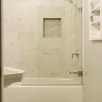 Sutro Architects - bathrooms - seafoam green bathroom, seafoam green guest bathroom seafoam green bathroom walls, seafoam green bathroom paint, glass shower partition, shower partition, bathroom glass partition, drop-in tub, marble shower tiles, marble shower surround, white pedestal sink, brown bath mat, brown and green, brown and green bathroom, brown and green guest bathroom, green and brown, green and brown bathroom green and brown guest bathroom, green and brown bathroom colors, brown and green bathroom colors,
