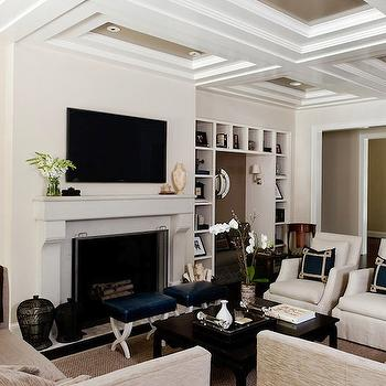 Coffered Ceiling, Transitional, living room, Courtney Hill Interiors