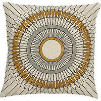 Pillows - Madeline Pillow I Crate and Barrel - crewel, pillow, sunburst, gold, gray