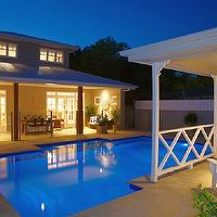 The House That AM Built - decks/patios - pool house, covered patio, swimming pool, french doors, patio french doors, transom windows, patio transom windows, in-ground pool, in-ground swimming pool, backyard swimming pool,