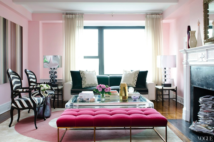 Pink Velvet Tufted Bench Contemporary Living Room Vogue