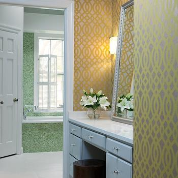 Yellow and Gray Wallpaper, Contemporary, bathroom, Beth Haley Design