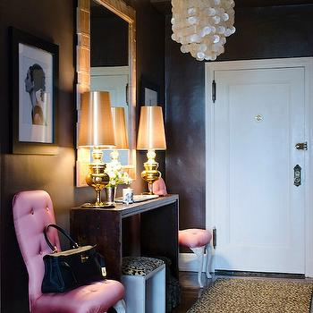 Vogue - entrances/foyers - textured wall, textured foyer walls, black wall color, black paint color, black textured walls, black foyer walls, black foyer paint, black foyer color, capiz chandelier, foyer chandelier, foyer chandeliers, cheetah, cheetah runner, foyer cheetah rug, pink chairs, tufted chairs, pink tufted chairs, cabriolet legs, chairs with cabriolet legs, console table, foyer tables, foyer console table, genie lamps, gold genie lamps, gold lamps, foyer lamps, foyer mirrors, cheetah rug,
