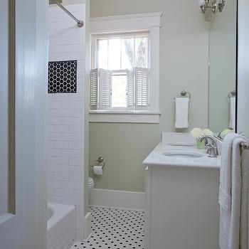 Beth Haley Design - bathrooms - retro bathroom, vintage bathroom, pale green bathroom, pale green bathroom paint, pale green bathroom, pale green walls, vintage hex tiles, vintage hex tile floor, vintage hex tile bathroom floor, vintage hex bathroom tiles, vintage hex bathroom floor, vintage bathroom floor, hex tiles, penny tile bathroom floor, black and white bathroom floor, vintage black and white bathroom floor, drop-in tub, double bathroom vanity, double sinks, black inset tiles, black bathroom inset tiles,