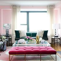 Vogue - living rooms: hot pink, tufted bench, velvet bench, velvet tufted bench, living room bench, velvet living room bench, tufted living room bench, hot pink bench, hot pink living room bench, hot pink tufted bench, hot pink velvet bench, hot pink velvet tufted bench, two-tone sofa, zebra chairs, zebra accent chairs, art deco lamps, cotton candy pink, cotton candy pink walls, cotton candy pink living room walls, cotton candy pink paint, cotton candy pink color, lucite, lucite cocktail table, cocktail table, pink bench, velvet bench, tufted bench, pink velvet bench, pink tufted bench, pink velvet tufted bench, pink living room, pink and black room, pink and black living room, pink walls,