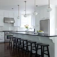 Beth Haley Design - kitchens - schoolhouse pendants, kitchen schoolhouse pendants, kitchen island schoolhouse pendants, island schoolhouse pendants, white kitchen, floor to ceiling kitchen cabinets, floor to ceiling white kitchen cabinets, absolute black granite, absolute black granite countertops, absolute black granite kitchen countertops, polished granite countertops, polished black granite countertops, endless kitchen island, kitchen island sink, granite counters, black granite counters, leather counter stools, endless kitchen island, long kitchen island, Rearden Schoolhouse Pendant, Pottery Barn Tibetan Barstool,