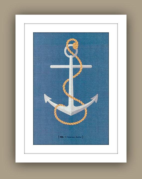 Art/Wall Decor - Nautical Childrens Wall Art  by 13WestDesign - Etsy - nautical, anchor, blue, art, print,