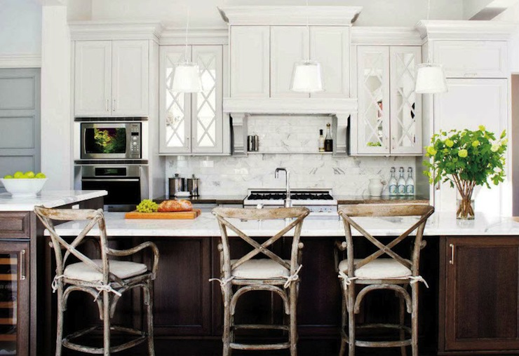 mirrored kitchen cabinets transitional kitchen style