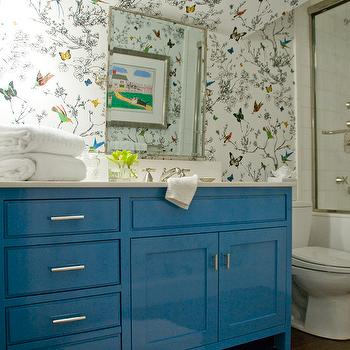 Birds and Butterflies Wallpaper, Eclectic, bathroom, Zoe Feldman Design