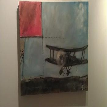 Art/Wall Decor - Bi Plane Original Painting Oil and Acrylic on by 13WestDesign - Etsy - art, canvas, oil, plane, WW2, blue, airplane,