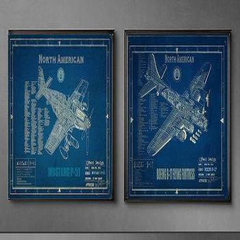 Art/Wall Decor - WW2 Aircraft Blueprints by 13WestDesign - Etsy - vintage, aircraft, blueprints, art, prints,