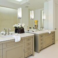 Pacific Peninsula Group - bathrooms: modern bathroom, taupe bathroom cabinets, single bathroom vanity, taupe single bathroom vanity, taupe modern bathroom cabinets, quartz countertops, white quartz countertops, quartz bathroom countertops, white quartz bathroom countertops, modern bathroom sconces, bathroom sconces, modern faucets, modern bathroom faucets, taupe paint, taupe paint colors, taupe paint color, taupe walls, taupe bathrooms, taupe cabinets, taupe bathroom cabinets,