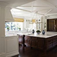 Pacific Peninsula Group - kitchens - marble countertops, honed marble countertops, honed kitchen countertops, honed marble kitchen countertops, two-tone kitchen, two-tone kitchen cabinets, espresso kitchen island, kitchen roman shades, traditional cabinets, traditional kitchen cabinets, glass-front cabinets, floor to ceiling kitchen cabinets, roman shade, yellow roman shade, white kitchen cabinets, polished nickel chandeliers, kitchen hardwood floors, damask roman shade, yellow damask roman shade, kitchen coffered ceiling, wood kitchen hood, wood paneled kitchen hoods, microwave nooks, oversized kitchen island, chocolate brown kitchen island,
