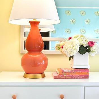 Laura Martin Bovard Interiors - girl's rooms - yellow girl's bedroom, coral and yellow, coral and yellow girl's bedroom, coral and yellow bedroom, white lattice mirror, lattice mirror, gourd lamp, double gourd lamp, coral double gourd lamp, white dresser, dresser, girl's dresser, white girl's dresser, coral pink lamp,