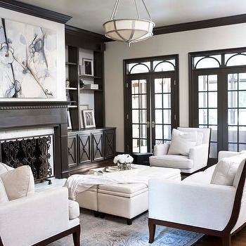 Gray Built Ins, Transitional, living room, Linda McDougald Design