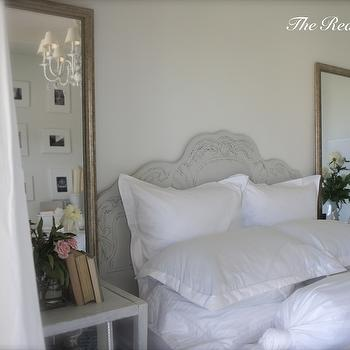 The Reading Girl - bedrooms - dreamy bedroom, whitewashed nightstand, shabby chic bedroom, romantic bedroom, gold mirror, gold bedroom mirror, white sheers, crystal chandelier, bedroom chandeliers, gray headboard, carved headboard, gray carved headboard, shabby chic headboard, gray shabby chic headboard, crisp white bedding, romantic headboard, gray romantic headboard, shabby chic headboard,