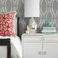 Laura Martin Bovard Interiors - bedrooms - gray bedroom, gray wallpaper, gray bedroom wallpaper, silver wallpaper, silver bedroom wallpaper, gray and silver, gray and silver bedroom, gray and silver wallpaper, gray and silver bedroom wallpaper, sleigh bed, black sleigh bed, gray sleigh bed, black and gray bed, black and gray sleigh bed, white cabinet, white lacquer cabinet, glossy white lacquer, white nightstand, white lacquer nightstand, modern nightstand, mercury glass, teardrop lamp, tear drop lamp, mercury glass teardrop lamp, arches wallpaper, Phillip Jeffries Arches White on Gray Wallpaper, West Elm Lacquer Tray,
