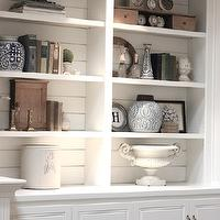 Forever Cottage - living rooms - built-ins lighting, built-ins, white built-ins, built-ins flanking fireplace, built-in cabinets, white built-in cabinets, plank backsplash, built-ins plank backsplash, plank backsplash, white plank backsplash, bookcase backsplash, plank bookcase backsplash, vignette, urn, ginger jar, chinese ginger jar, white built-in plank backsplash, white bookcase backsplash, white plank bookcase backsplash,
