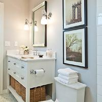 Decor Happy - bathrooms - gray bathroom, white and gray, white and gray bathroom, gray walls, gray paint, gray bathroom walls, gray bathroom paint, extra-wide bathroom vanity, single bathroom vanity, white bathroom vanity, marble countertop, beveled mirror, bathroom mirrors, beveled bathroom mirrors, sconces, sconces flanking bathroom mirror, hex floor, hex tile floor, hex bathroom floor, hex bathroom tiles, marble hex tiles, marble hex floor, marble hex tile floor, marble hex bathroom floor, marble hex bathroom tiles, single vanity, whit single vanity,