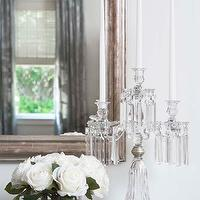 Linda McDougald Design - bedrooms - crystal candelabra, candelabra, metallic mirror, foyer mirror, metallic foyer mirror,  Vignette with crystal