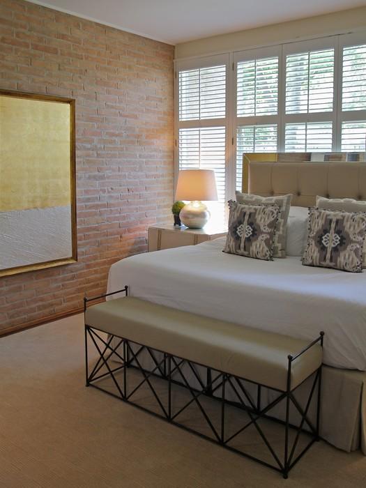Exposed Brick Wall Contemporary Bedroom Kristen Nix