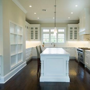 White Kitchen Cabinets with Dark Wood Floors, Transitional, kitchen, Bakes and Company