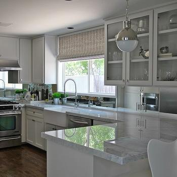 Mirror Backsplash, Contemporary, kitchen, Kristen Nix Interiors