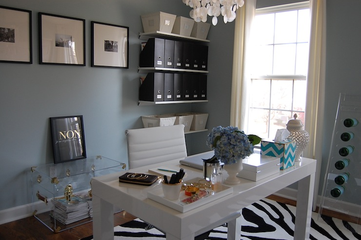 Blue grey paint colors contemporary den library office for Benjamin moore office