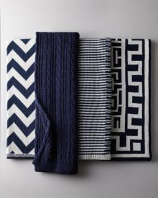 Decor/Accessories - Navy and White Cotton Throws - Horchow - navy, white, chervon, geometric, throw, cable, knit, Greek, key, striped
