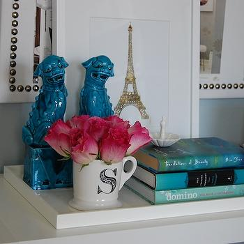 dens/libraries/offices - ring holder, peacock ring holder, anthropologie ring holder, lacquer tray, white lacquer tray, west elm lacquer trays, anthopologie mug, monogrammed mug, west elm lacquer trays, anthopologie mug, monogrammed mug, white bookcase, expedit bookcase, bulletin board, white bulletin board, foo dogs, turquoise foo dogs, turquoise blue foo dogs, chanel, eiffel tower art, 24k gold art, ikat bowl, gold ikat bowl, blue office, blue gray office walls, blue gray paint, blue gray walls, Ikea Expedit Bookcase, West Elm Lacquer Office Catchall Tray, Anthropologie Monogrammed Mug, Etsy I See Noise Eiffel Tower 24K Gold Print, Domino,