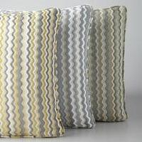 Pillows - &#034;Generosa&#034; Accent Pillow - Horchow - zig, zag, pillow, gray, yellow, white, green,
