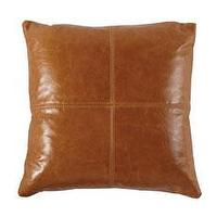 Pillows - Leather Patchwork Pillow - Horchow - patchwork, leather, pillow, nutmeg,