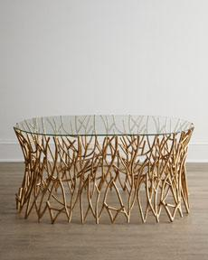 "Tables - ""Golden Branches"" Coffee Table - Horchow - coffee, table, iron, branches, golden, dol,"