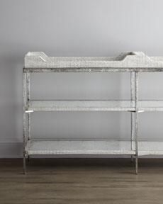 "Tables - John-Richard Collection ""Whipoorwill"" Console - Horchow - console, table, faux, crocodile, white, tray, top, eglomise, mirror, shelves,"