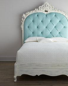 "Beds/Headboards - Florence de Dampierre ""Bouvier"" Bed - Horchow - turquoise, aqua, carved, ornate, tufted, bed, classic, diamond, blue, headboard,"